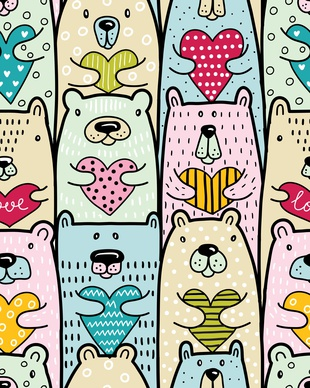 Bears with hearts. Vector seamless pattern